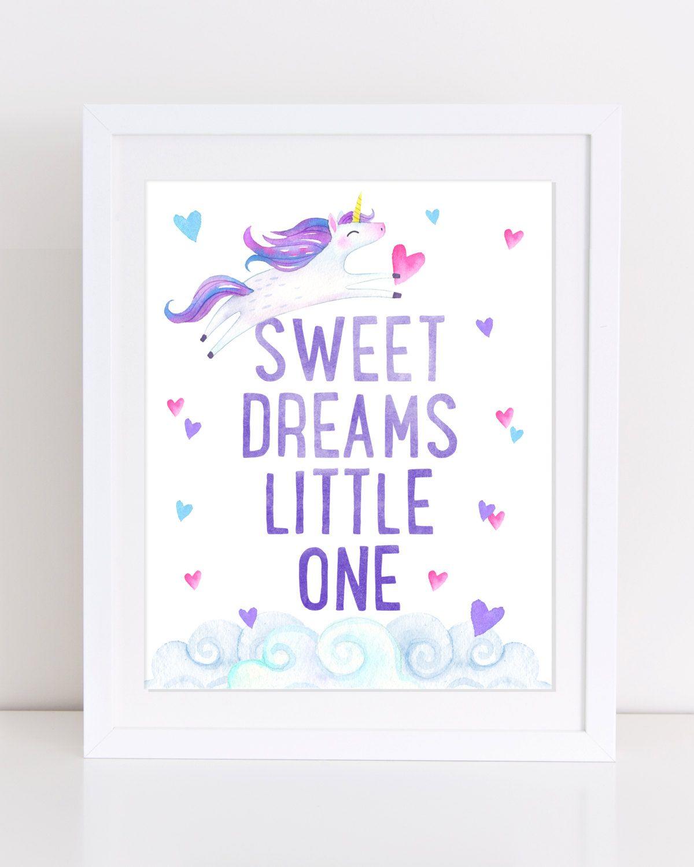 Unicorn Print, Sweet Dreams Print, Printable Nursery Art ...