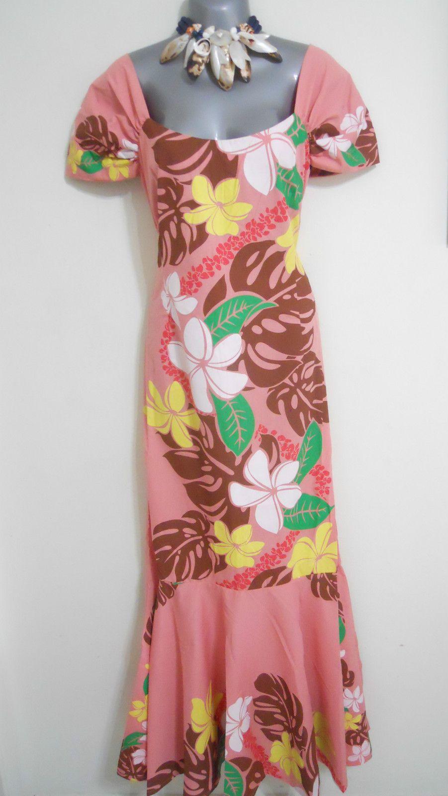 Hawaiian Long Muu Muu Dresses Sz L XL Pink Brown Hawaii Moo Moo ...