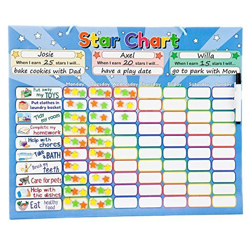 Roscoe Learning Responsibility Star Chart Customize For 1 3 Kids Magnetic Chore Reward System Chore Chart Kids Charts For Kids Chore Rewards