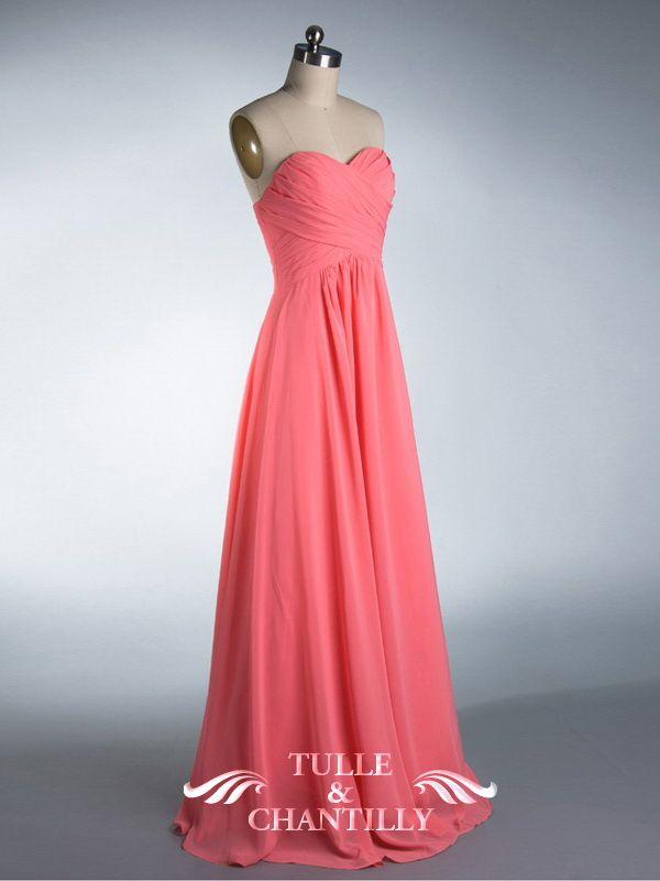 fall wedding ideas long sweetheart strapless coral pink bridesmaid