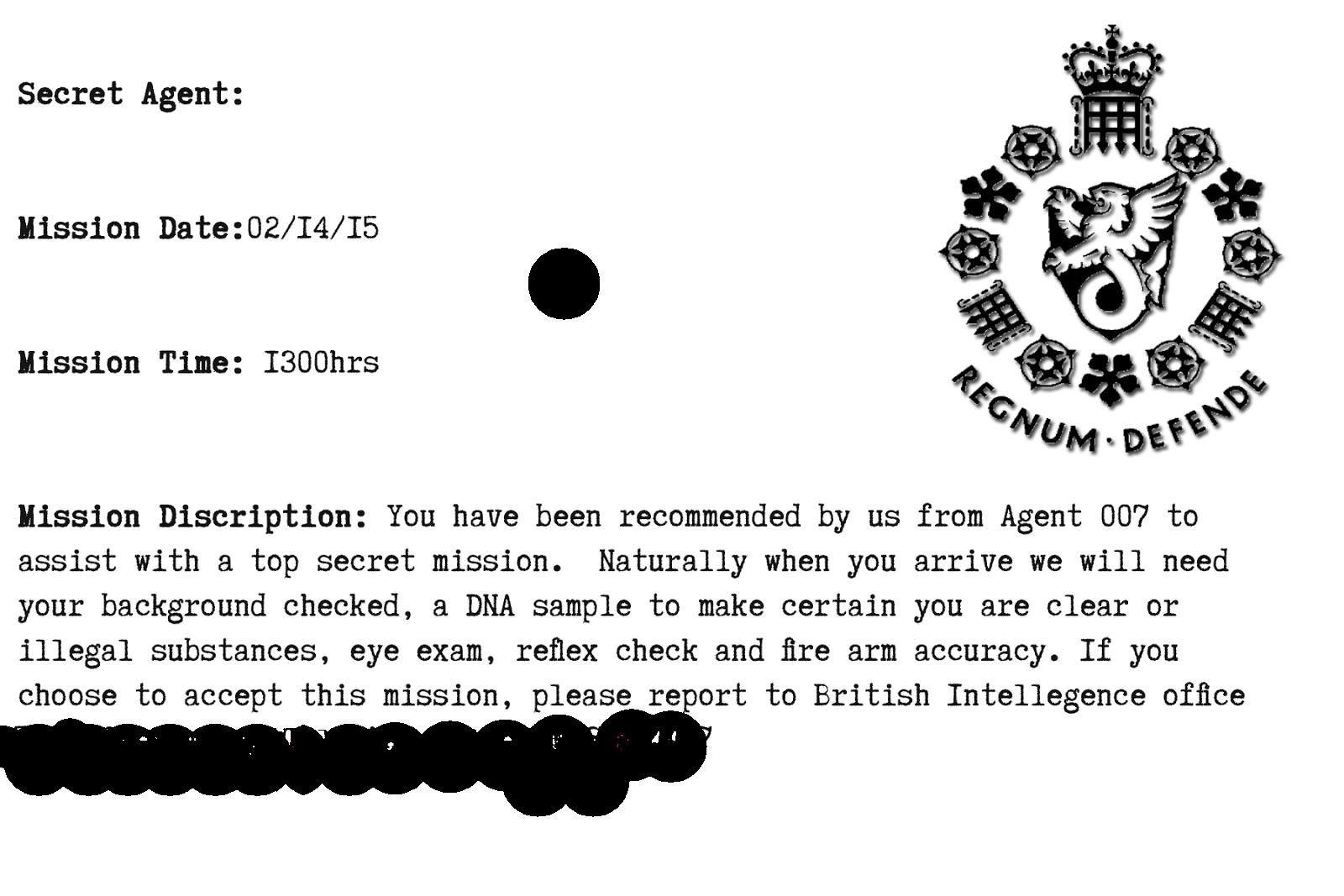 Invitation Spy Mission Description