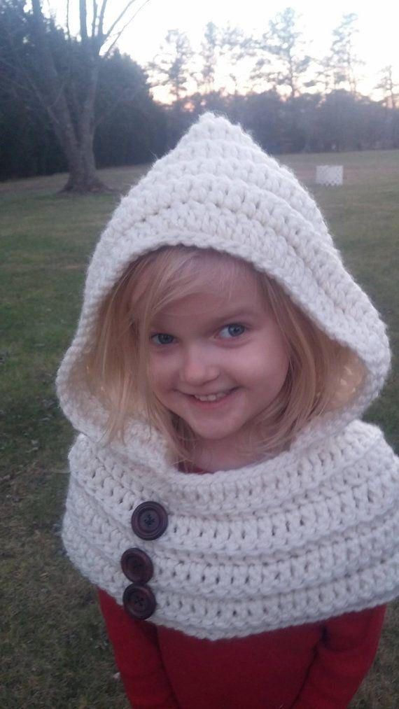 Crocheted Hooded Cowl scarf | Capucha, Ganchillo y Tejido