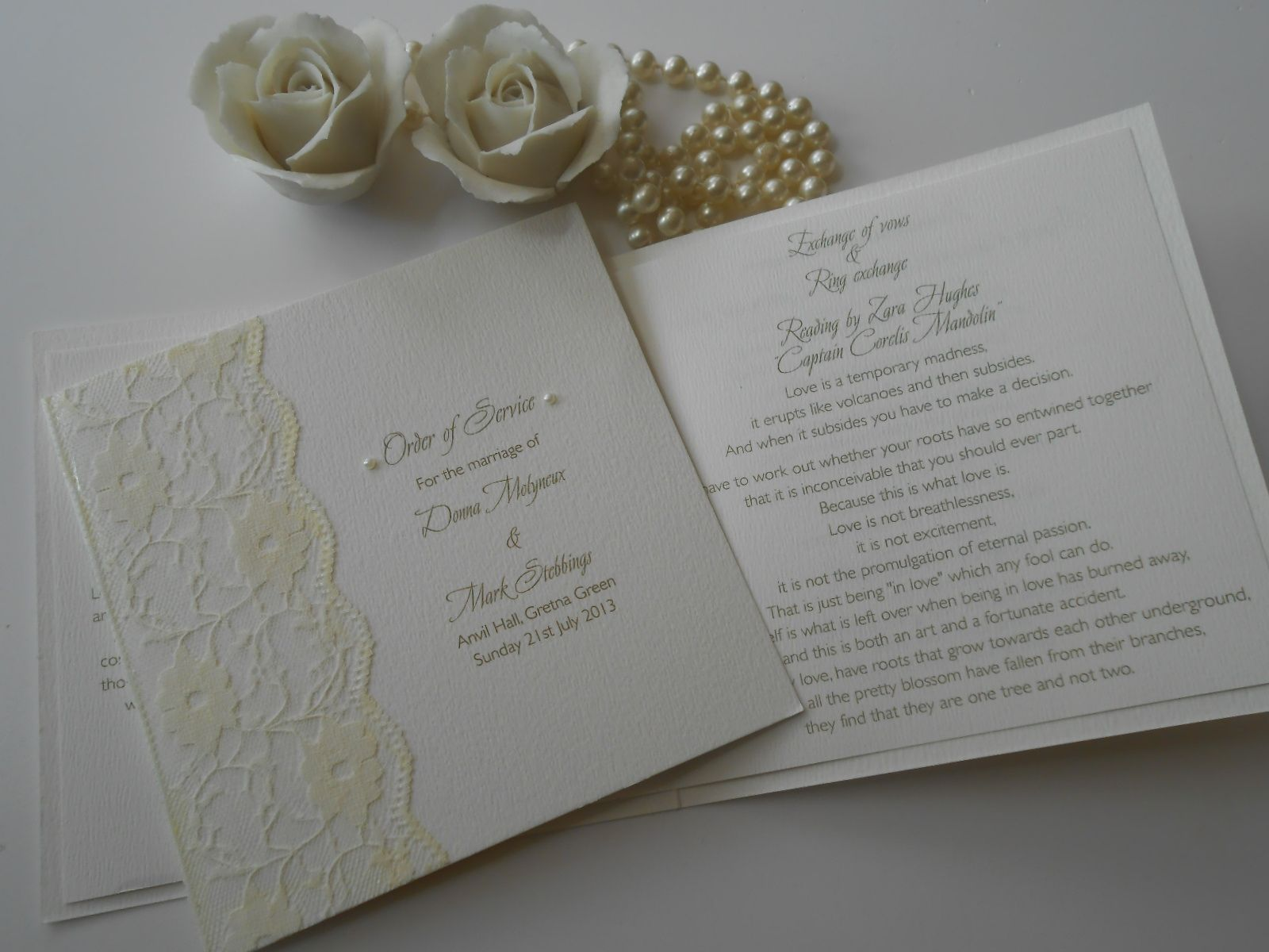 Pretty pearl and lace order of service booklets x www.uberflyinvites.co.uk