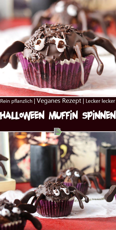 Schön schaurig Halloween Muffin Spinnen Dailyvegan