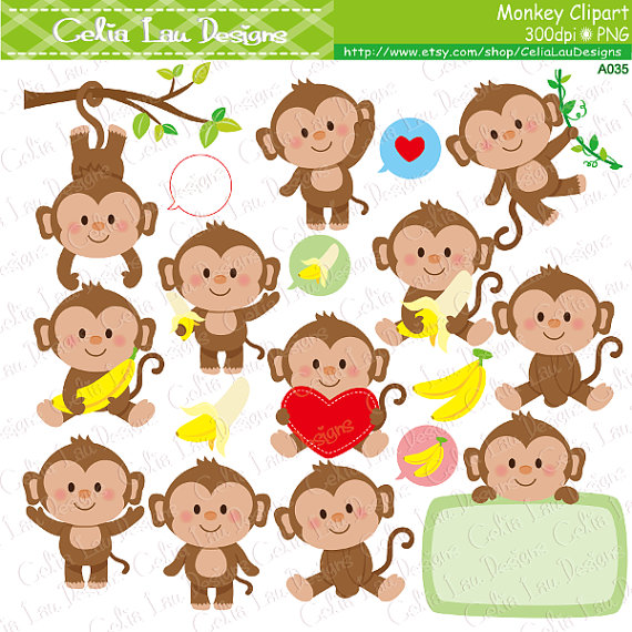 monkey clipart cute monkey clipart by celialaudesigns on etsy rh pinterest co uk etsy cart etsy clip on earrings uk
