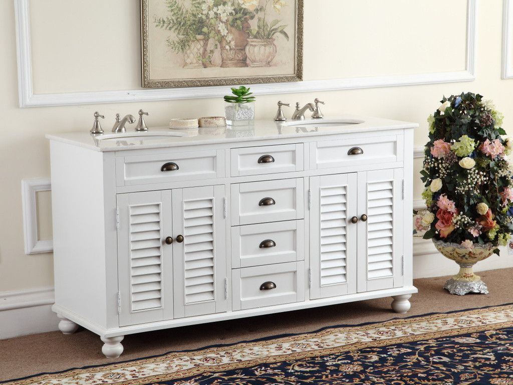 Adelina 60 Inch Antique White Double Sink Bathroom Vanity Marble Counter Top Double Sink Bathroom Vanity Bathroom Vanities For Sale Bathroom Vanity