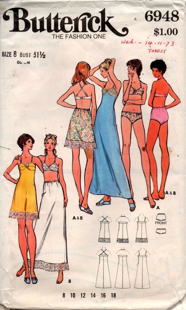 9858b87bc Butterick 6948 Womens Bra Bra Slip Slip Panties Briefs 70s Vintage Sewing  Pattern Size 8 Bust 31 1 2 inches UNCUT Factory Folded