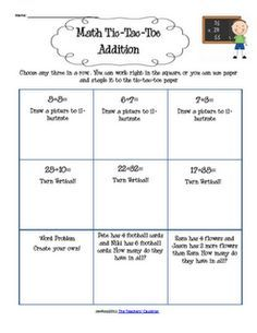 Differentiated learning on pinterest choice boards exit slips practice addition skills with this tic tac toe addition board pronofoot35fo Choice Image