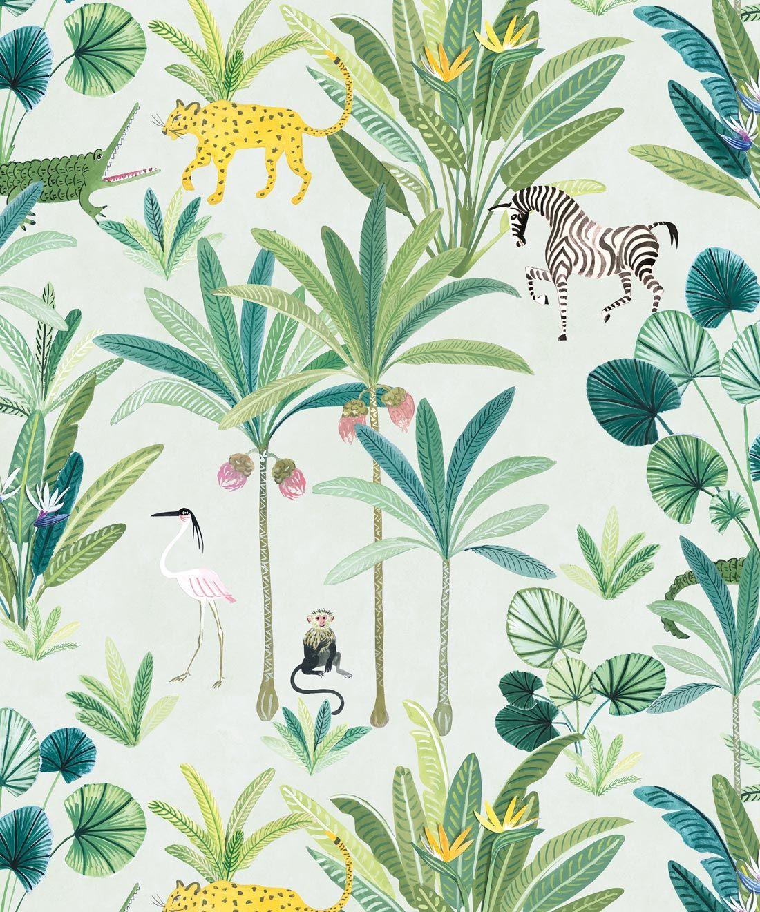 Jungle Wallpaper Gorgeous Animal Kingdom Milton King In 2020 Jungle Wallpaper Monkey Wallpaper Retro Wallpaper