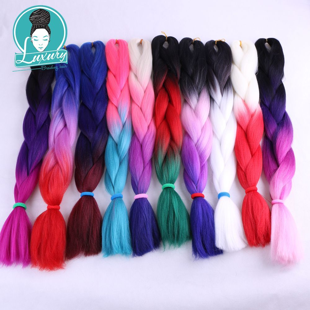Jumbo Braids Luxury For Braiding Blonde Pink Light Purple 10pcs/lot 24inch African Synthetic Jumbo Braids Ombre Kanekalon Braiding Hair Hair Extensions & Wigs