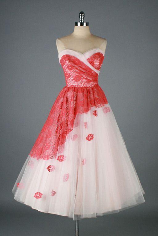 Rosa Tüll-Cocktailkleid mit Blumen aus den 1950er Jahren ...