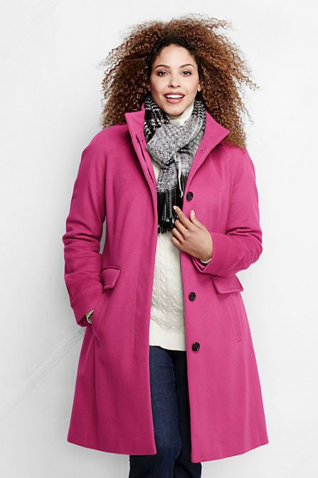 Lands End Luxe Wool Car Coat Pink Cashmere Plus Size 20 W NEW WITH ...