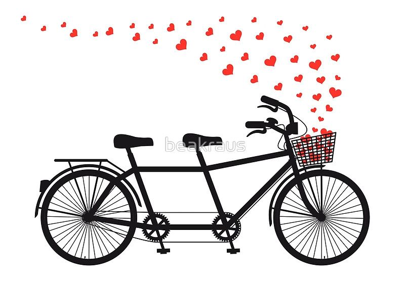 «tandem bicycle and flying red hearts for Valentine's day, wedding invitation» de beakraus