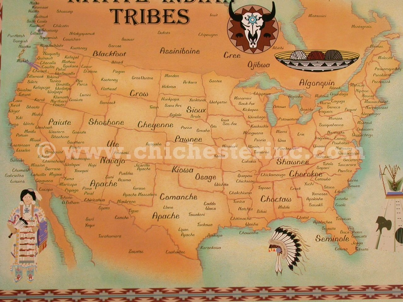 Alphabetic Listing Of Native American Indian Tribes Of South - Us native american map