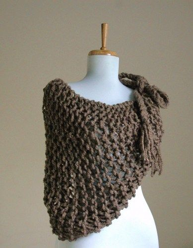 Knit Oversized Chunky Triangle Scarf Cowl Shawl Loose Open Knit