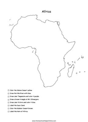 Africa Physical Map Worksheet | Geography | Map worksheets