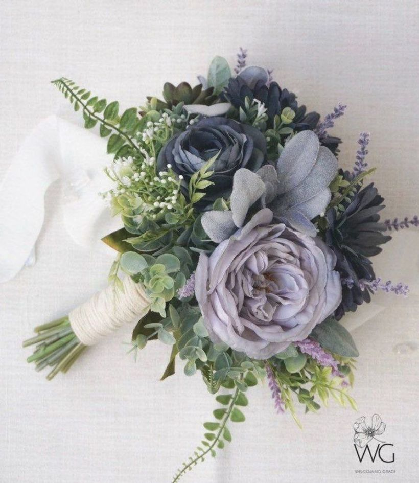 Excited To Share This Item From My Etsy Shop Blue And Purple Floral Bouquet Dusty Blue In 2020 Purple Wedding Bouquets Blue Flower Arrangements Blue Flowers Bouquet
