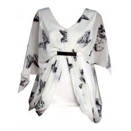 Blusa de Gasa Blanca con Mariposas Negras T309