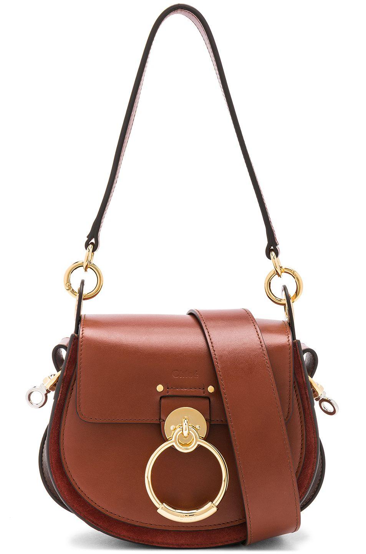 49998b87f190c Image 1 of Chloe Small Tess Shiny Calfskin Shoulder Bag in Sepia Brown