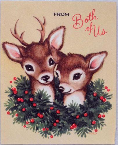 #1852 50s Gibson Sweet Deer Friends- Vintage Christmas Card-Greeting