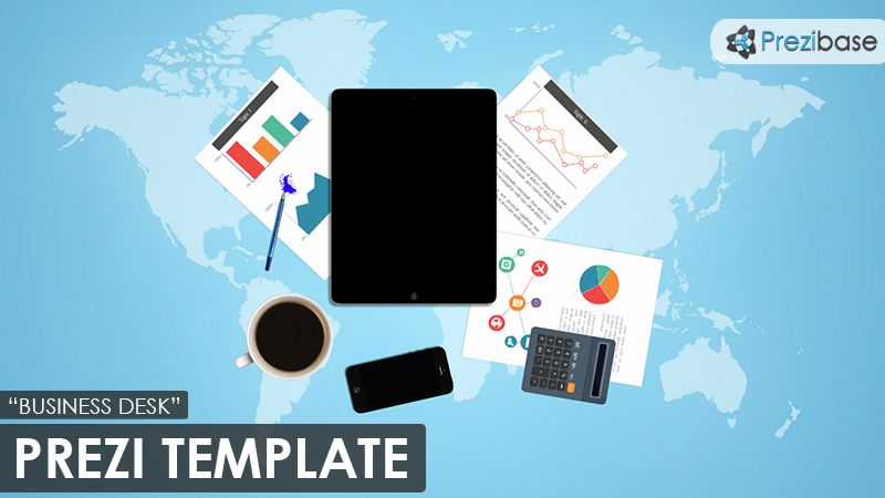 Prezi template with a business desk concept ipad iphone papers prezi template with a business desk concept ipad iphone papers pen calculator and business charts on a blue 3d world map background wajeb Images