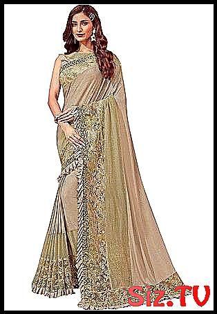 Cream LycraNet Designer Saree wedding is one of th