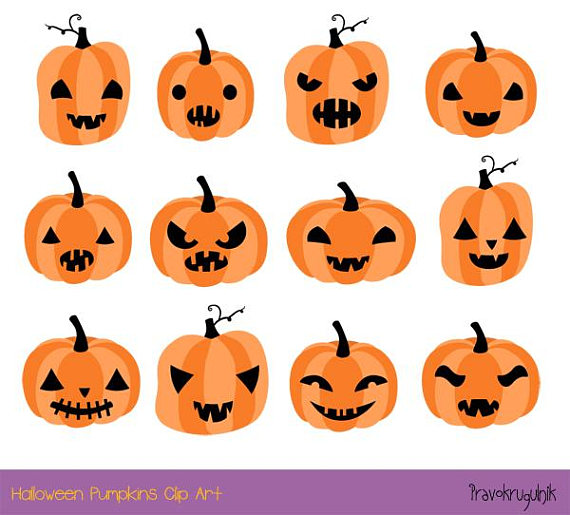 Halloween Pumpkin Clipart Cute Pumpkin Face Clip Art Set Etsy In 2020 Cute Pumpkin Faces Pumpkin Faces Jack O Lantern Faces