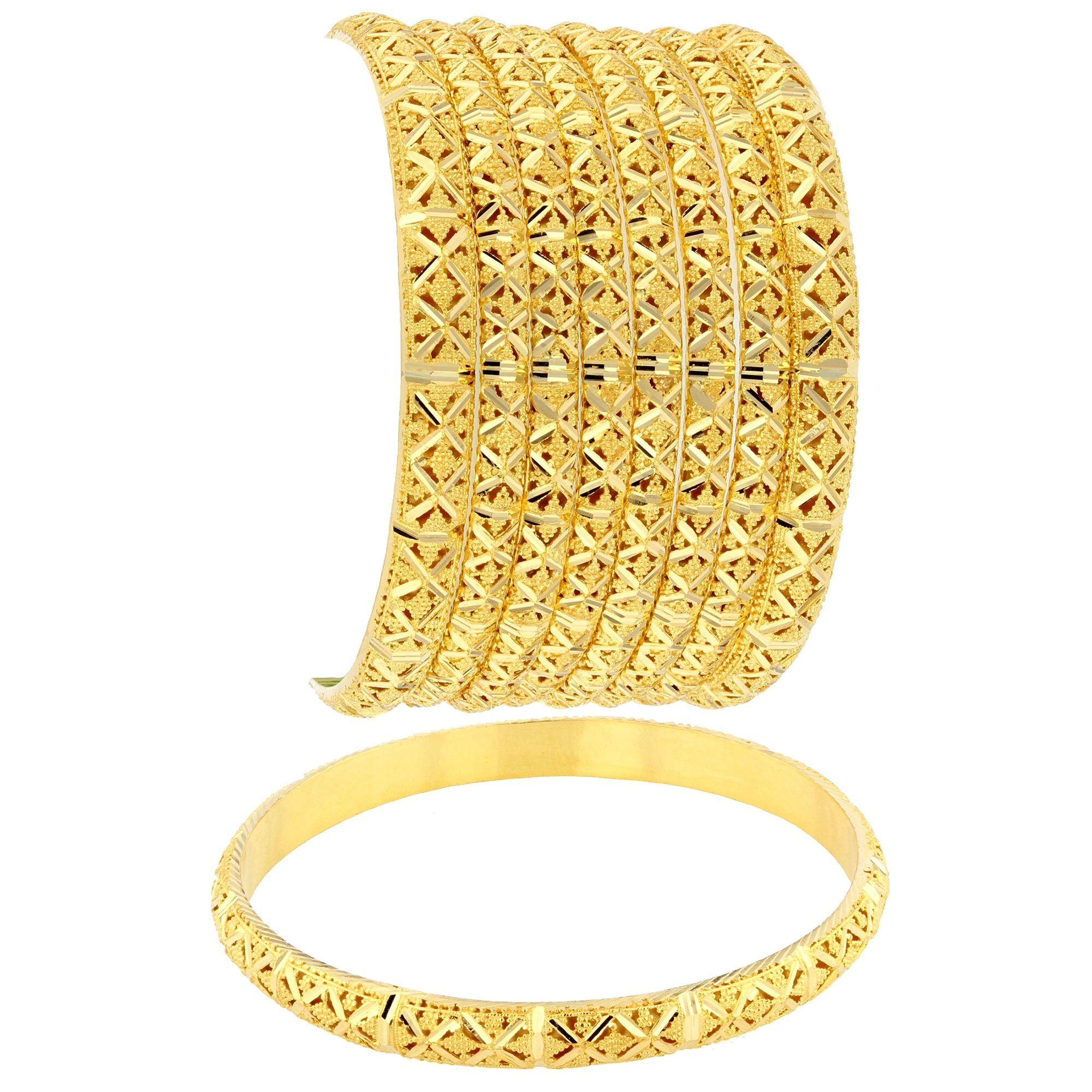 italian diamond cut set bracelet jewellery amazon tri color yellow bangle dp bangles day piece com gold