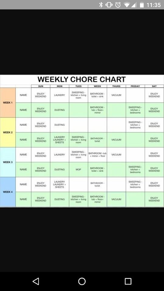 chores schedule