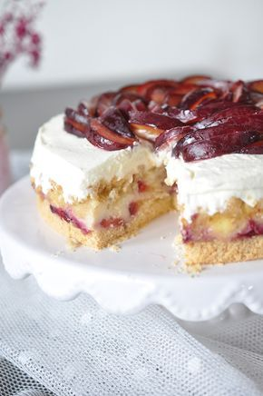 Pflaumen blechkuchen mit pudding