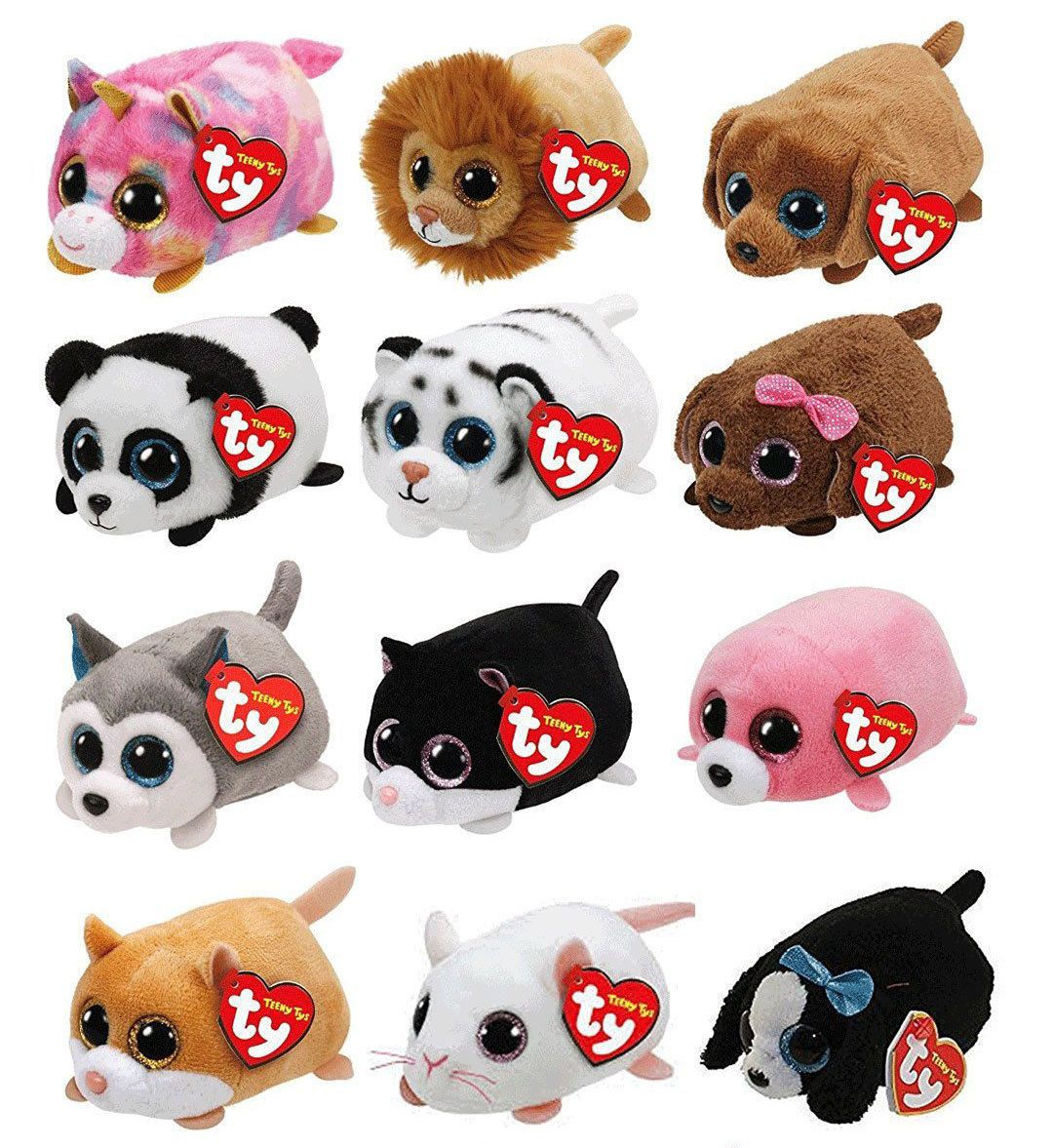 """TY Beanie Boos Teeny Tys Stackable Plush 4/"""" - with Heart Tags SET OF 12"""