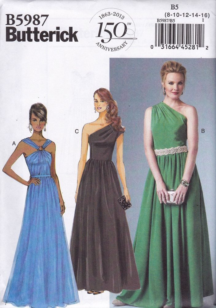 Butterick Easy Sewing Pattern Misses\' Evening Prom Dress 8 -24 B5987