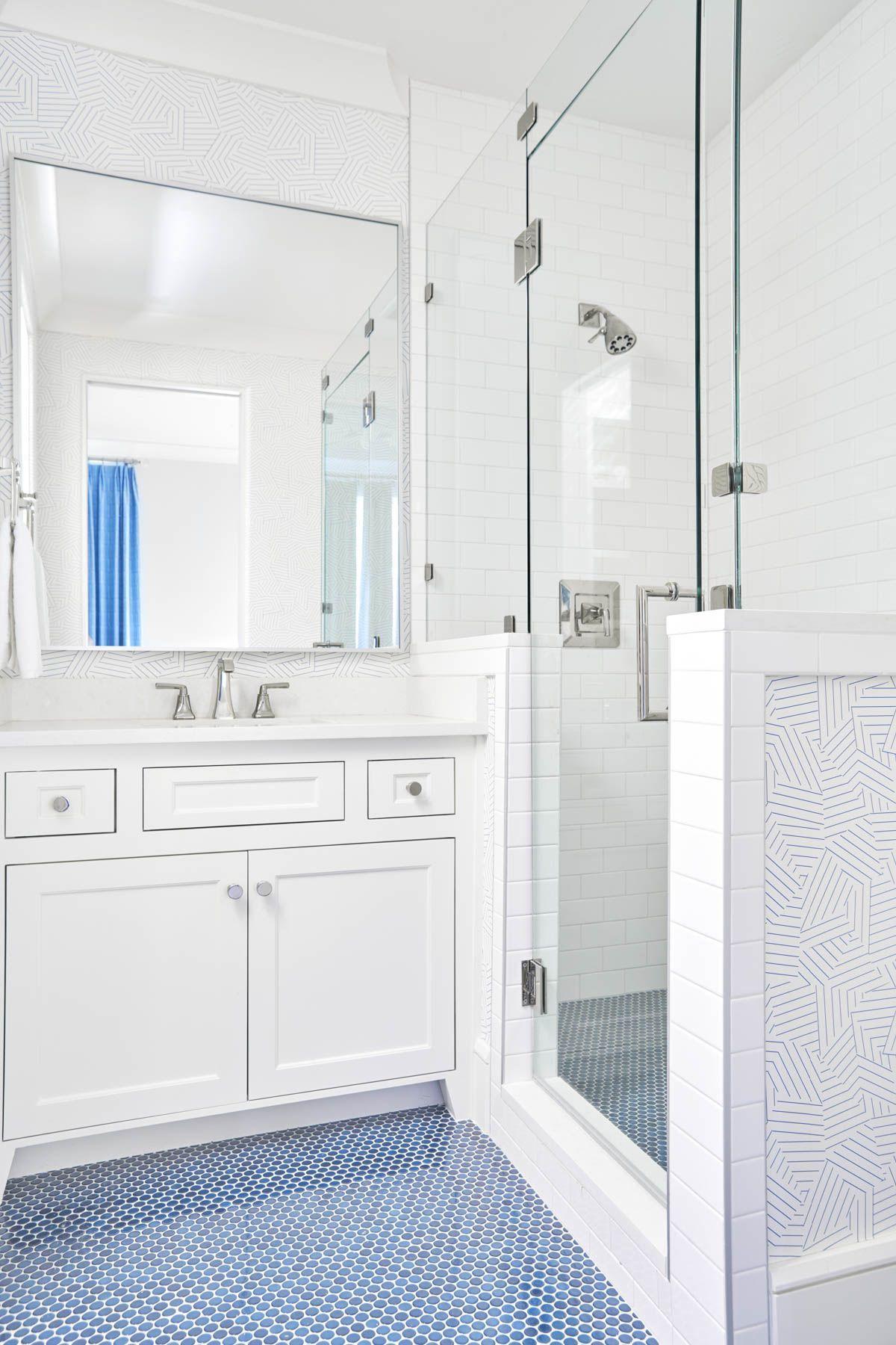 20 Kids Bathrooms Even Adults Would Adore Penny Tiles Bathroom Blue Tile Floor Bathrooms Remodel