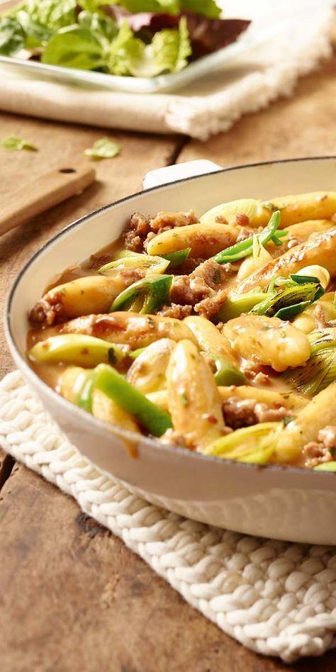 Hackfleisch-Lauch-Pfanne mit Schupfnudeln #meatrecipes