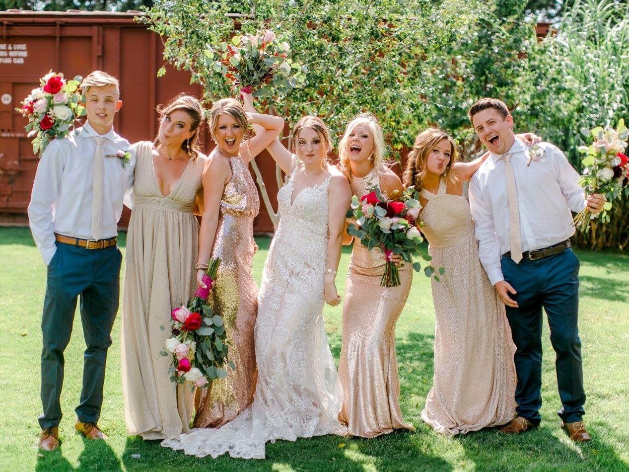 Bridal party gold bridesmaids dresses summer wedding katie bridal party gold bridesmaids dresses summer wedding katie rivera photography cotton creek ombrellifo Images
