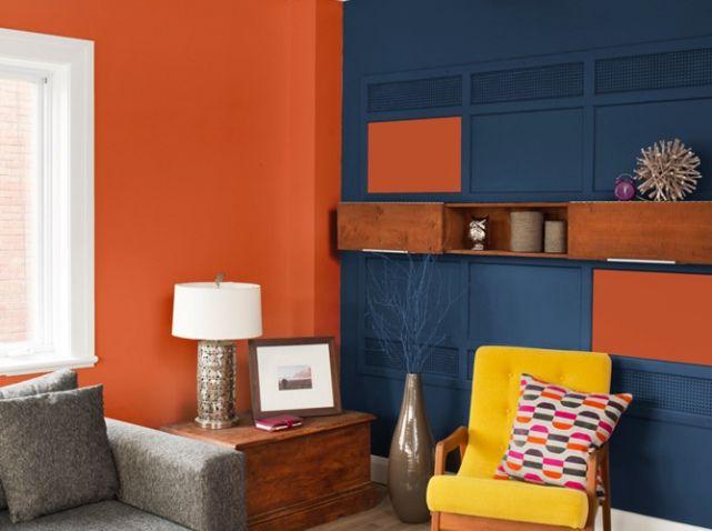 Peinture salon plus de 20 couleurs canons pour le repeindre chauffeuse salons orange et jaune for Decoration chambre camaieu orange