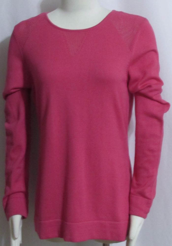 NEW Womens Ladies CALVIN KLEIN Pink Cotton Blend Long Sleeve Sweater M Orig $79  #CalvinKlein #ScoopNeck