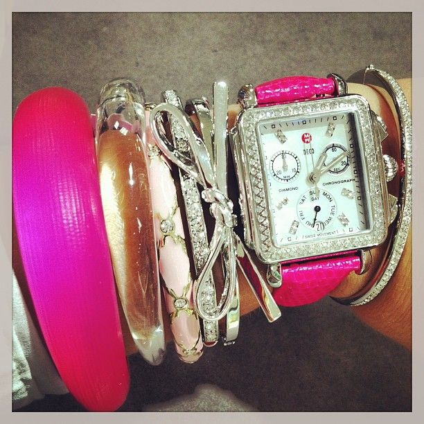 Barbie inspired #armparty #michelewatches #alexisbittar #katespade