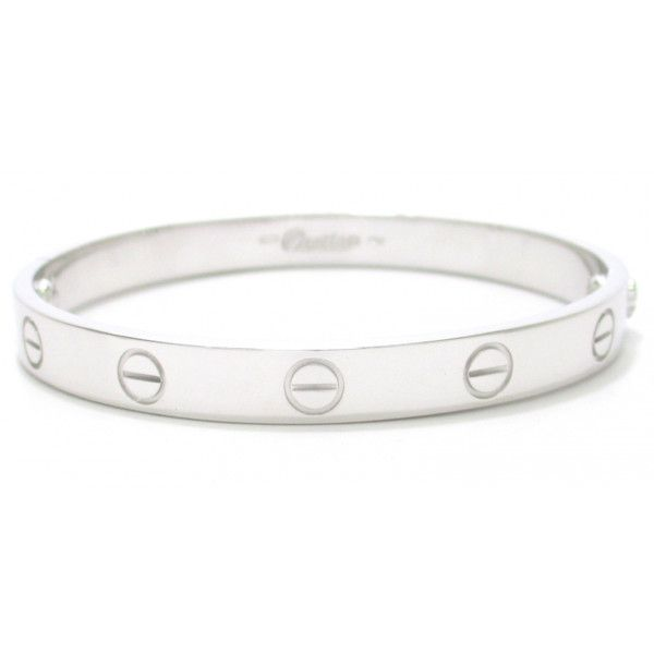Pre-Owned Cartier Love Bracelet 18k White Gold Size 16 (€4.555) ❤ liked on Polyvore featuring jewelry, bracelets, accessories, silver, 18k white gold bangle, colorful bracelet, white gold bracelet, 18k bracelet and 18k bangle