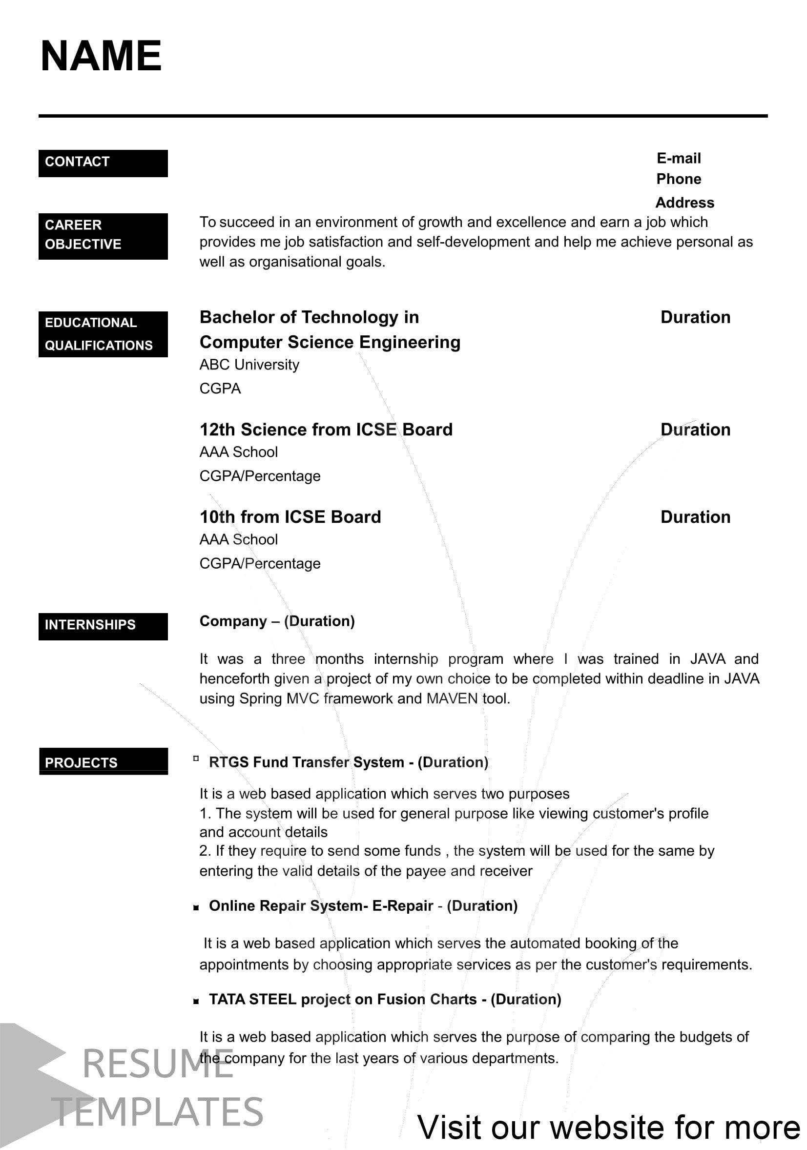 10 Teaching Resume Template Format Tips Resume Format For Freshers Best Resume Format Job Resume Template