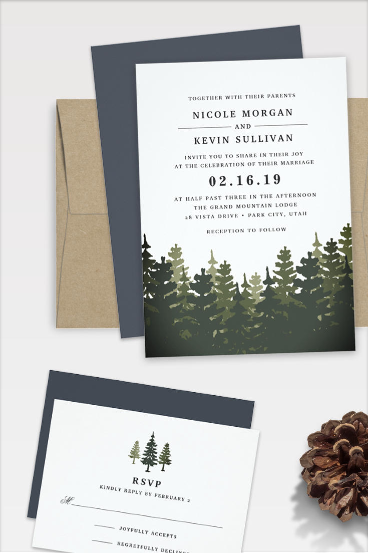 Elegant Rustic Wedding Invitations For Winter Mountain Or Forest