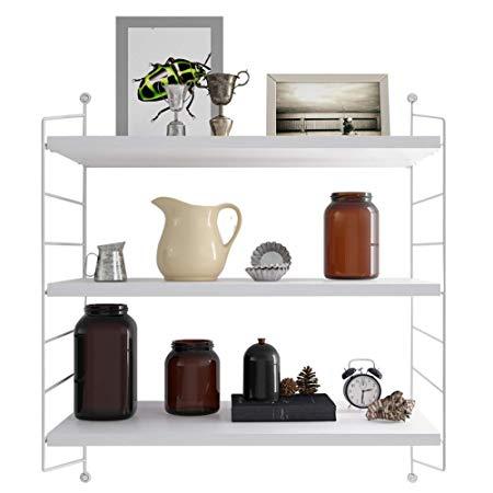 Amazon Com Rank Modern 2 Tier Display Wall Shelf Adjustable Storage Rack Wall Mounted Floating Shelf Bookshelves Dar Shelves Floating Shelves Display Shelves