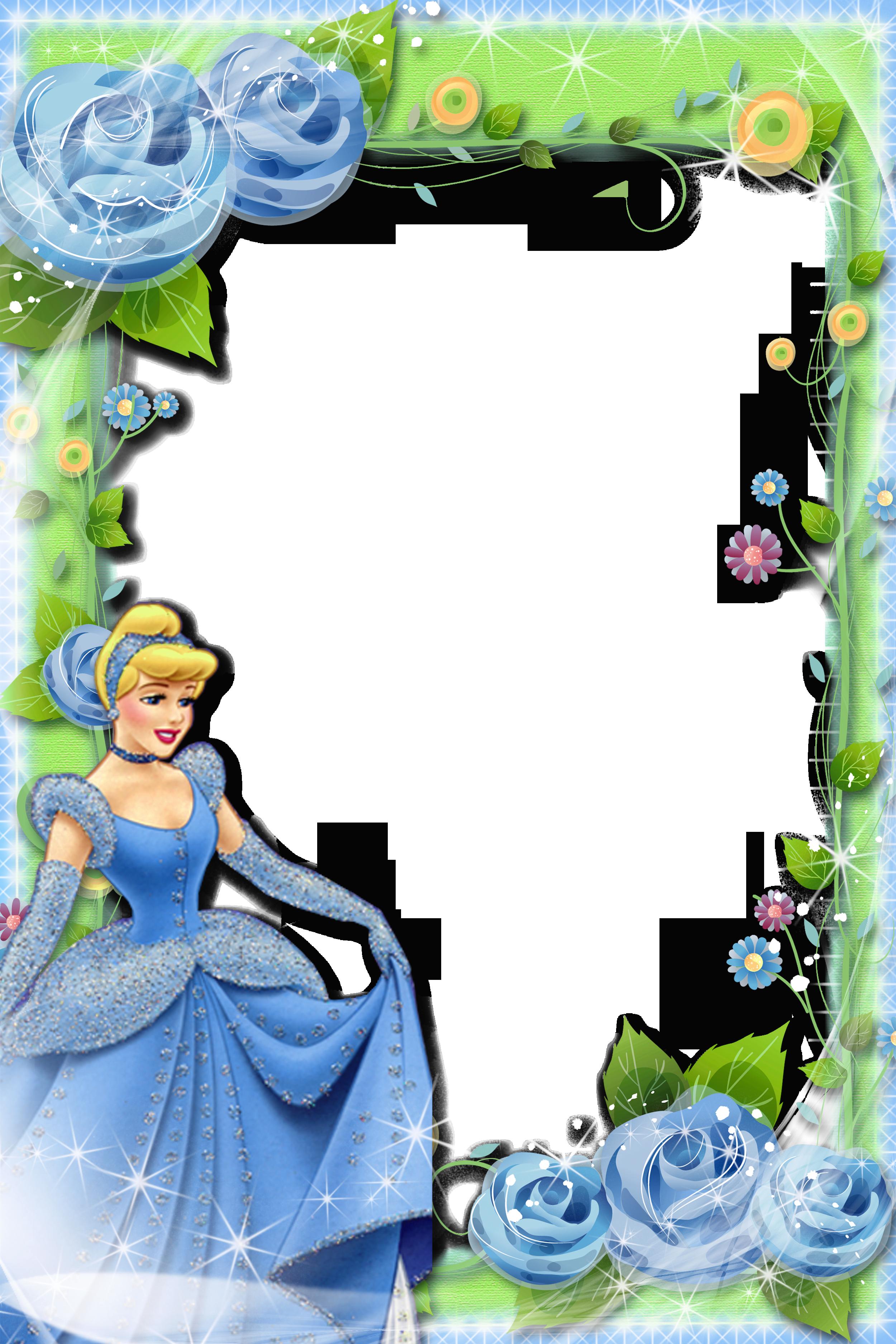 Transparent Blue Green Kids Frame With Princess Disney Frames Princess Frame Disney Scrapbook