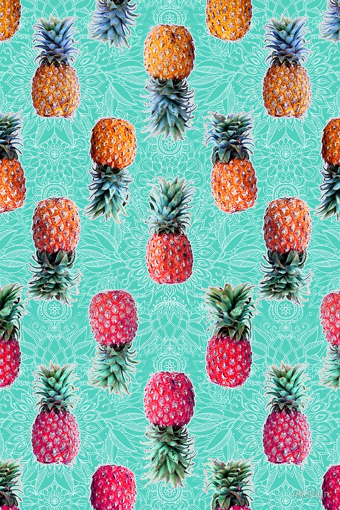 From Pineapple to Pink - tropical doodle pattern on mint ...