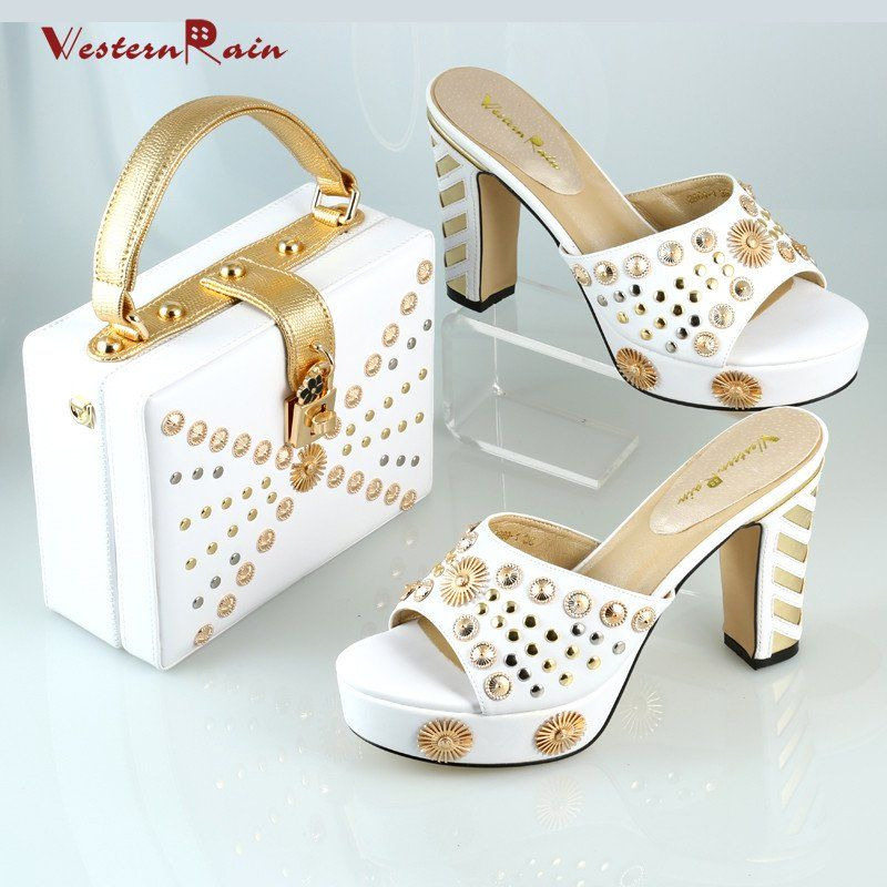 Seepretty 2017 Charming Australian Shoes With Matching Bags White And Set For Wedding