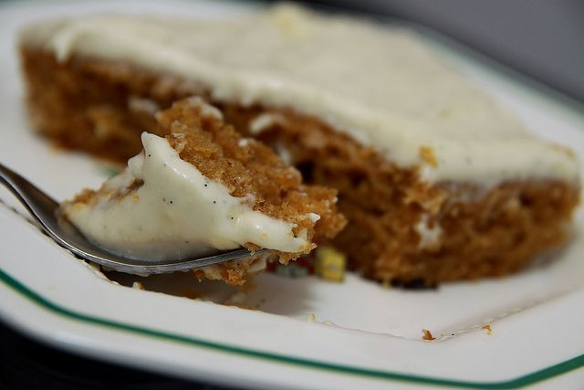 Pumpkin Cake with Vanilla Bean Cream Cheese Frosting. This is one of my top 5 most requested recipes. Easy to make and everyone raves about it!