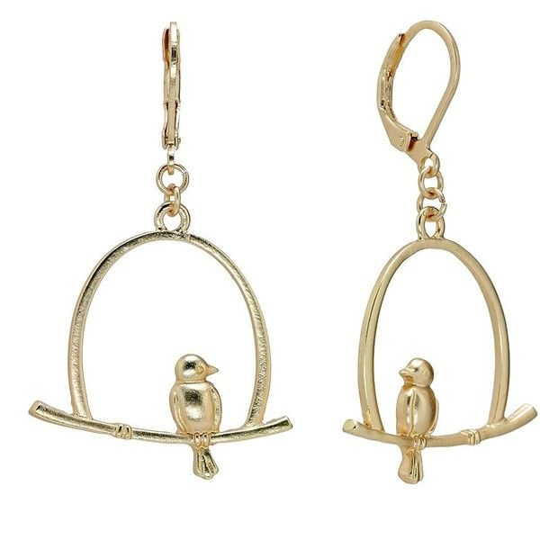 LC Lauren Conrad Gold Tone Caged Bird Drop Earrings ($9.80) ❤ liked on Polyvore