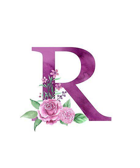 Póster Monograma r precioso ramo de rosas de floralmonogram