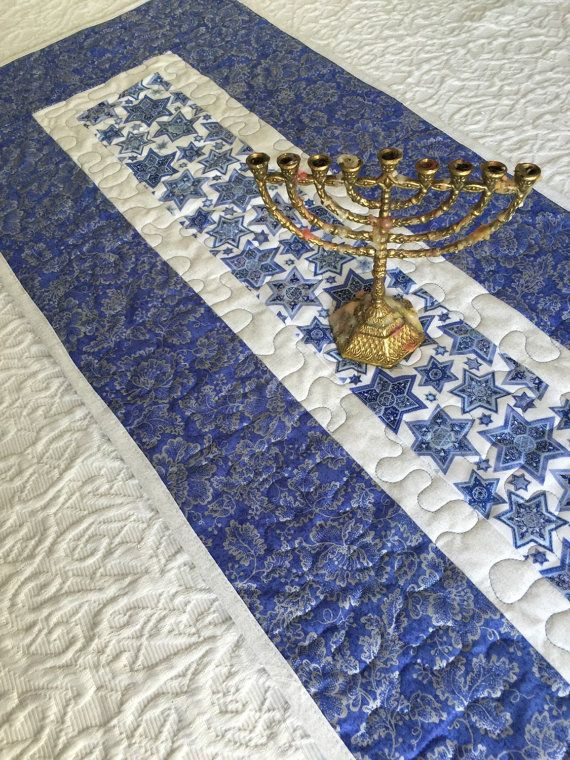 Hanukkah Table Runner Quilt Blue White Channukah Quiltsy
