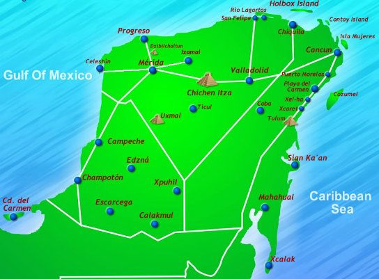 Mexican Riviera Maya Map CARIBE y CENTROAM RICA – Mexican Tourist Attractions Map